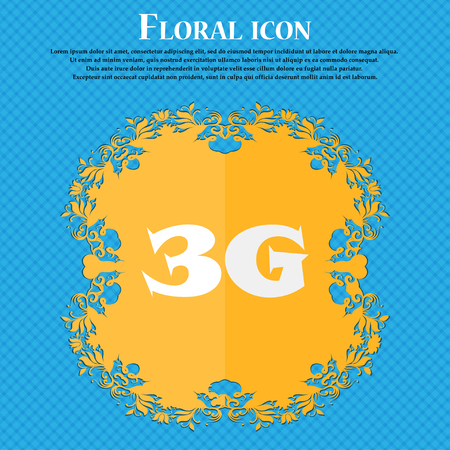 3g: 3G sign icon. Mobile telecommunications technology symbol. Floral flat design on a blue abstract background with place for your text. Vector illustration Illustration