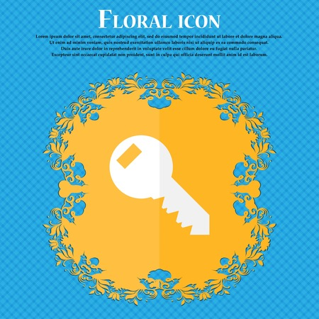 text tool: Key sign icon. Unlock tool symbol.. Floral flat design on a blue abstract background with place for your text. Vector illustration Illustration