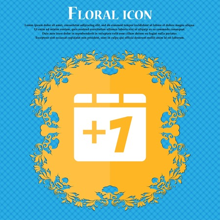 append: Plus one, Add one . Floral flat design on a blue abstract background with place for your text. Vector illustration