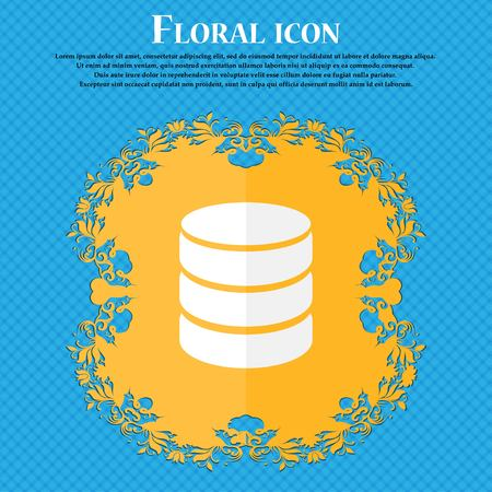 protected database: Hard disk and database sign icon. flash drive stick symbol. Floral flat design on a blue abstract background with place for your text. Vector illustration
