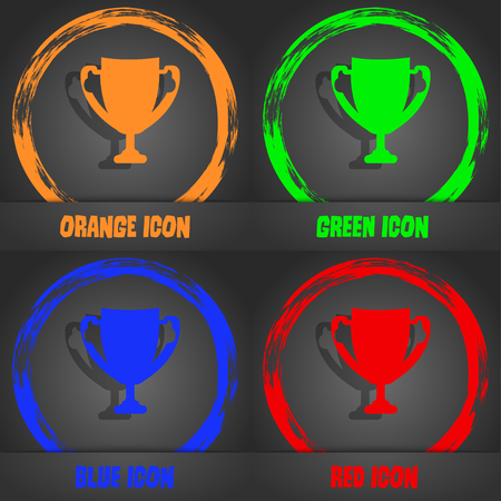awarding: Winner cup sign icon. Awarding of winners symbol. Trophy. Fashionable modern style. In the orange, green, blue, red design. Vector illustration