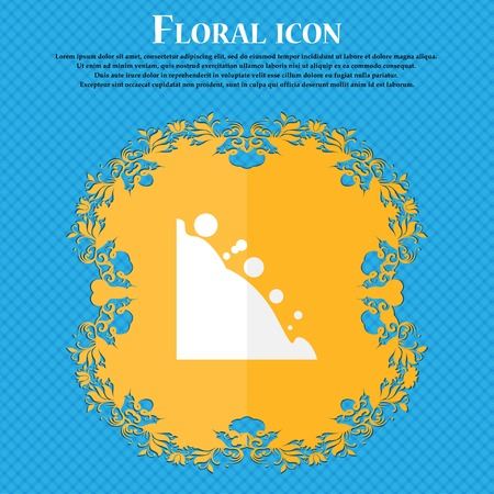 rockfall: Rockfall icon. Floral flat design on a blue abstract background with place for your text. Vector illustration