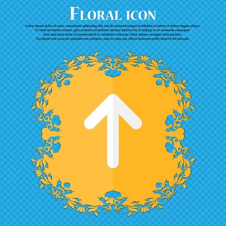 this side up: Arrow up, This side up . Floral flat design on a blue abstract background with place for your text. Vector illustration Illustration