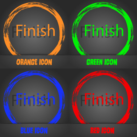 abort: Finish sign icon. Power button. Fashionable modern style. In the orange, green, blue, red design. Vector illustration