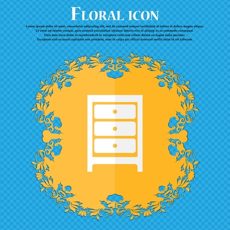 joinery: Nightstand icon sign. Floral flat design on a blue abstract background with place for your text. Vector illustration