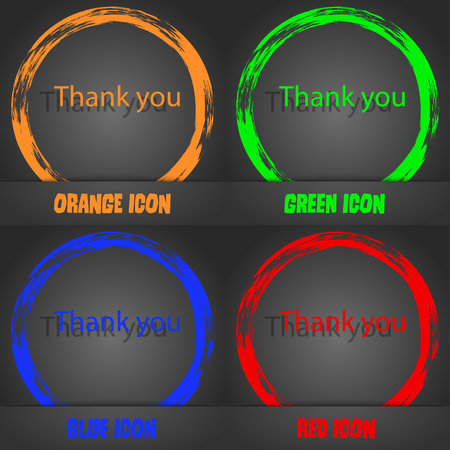 Thank you sign icon. Gratitude symbol. Fashionable modern style. In the orange, green, blue, red design. Vector illustration