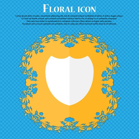 security token: Shield sign icon. Protection symbol. Floral flat design on a blue abstract background with place for your text. Vector illustration