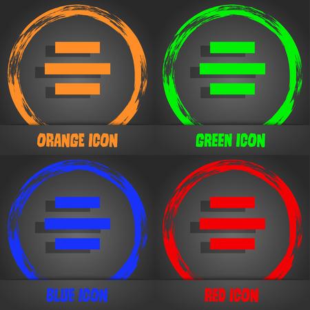 alignment: Centro signo icono de alineaci�n. Estilo moderno de moda. En el, dise�o anaranjado, verde, azul rojo. Ilustraci�n vectorial Vectores