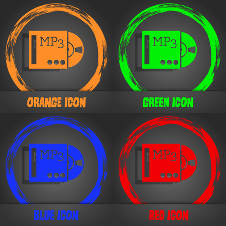 crystal button: mp3 player icon sign. Fashionable modern style. In the orange, green, blue, red design. Vector illustration Illustration