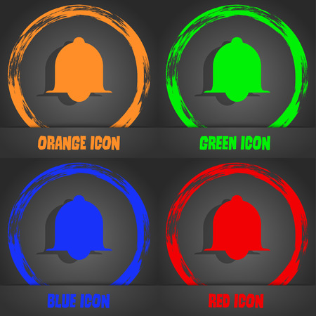wake up call: Alarm bell sign icon. Wake up alarm symbol. Speech bubbles information icons.. Fashionable modern style. In the orange, green, blue, red design. Vector illustration Illustration