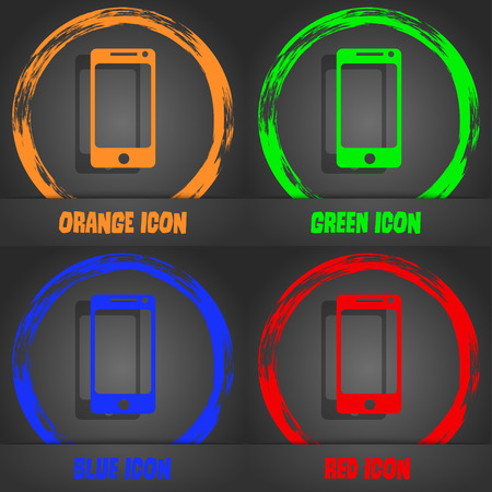 smartphone icon: Smartphone sign icon. Support symbol. Call center. Fashionable modern style. In the orange, green, blue, red design. Vector illustration