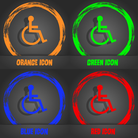 invalid: Disabled sign icon. Human on wheelchair symbol. Handicapped invalid sign. Fashionable modern style. In the orange, green, blue, red design. Vector illustration