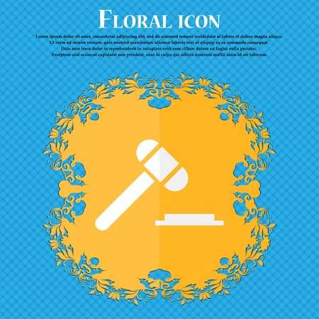 auctioning: judge hammer icon. Floral flat design on a blue abstract background with place for your text. Vector illustration
