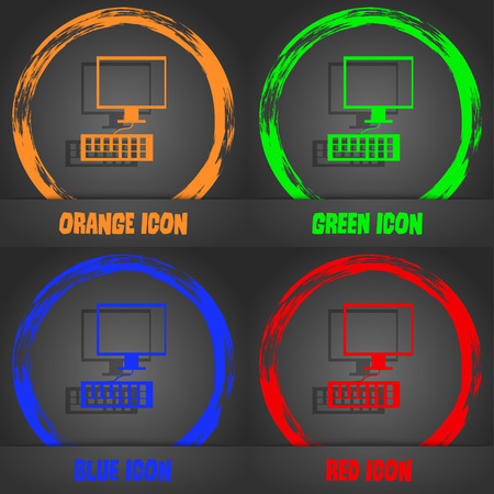 input device: Computer monitor and keyboard Icon. Fashionable modern style. In the orange, green, blue, red design. Vector illustration Illustration