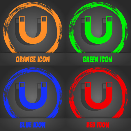 electromagnetic field: magnet sign icon. horseshoe it symbol. Repair sig. Fashionable modern style. In the orange, green, blue, red design. Vector illustration Illustration