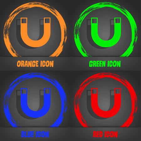 sig: magnet sign icon. horseshoe it symbol. Repair sig. Fashionable modern style. In the orange, green, blue, red design. Vector illustration Illustration