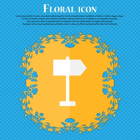 designator: Signpost. Floral flat design on a blue abstract background with place for your text. Vector illustration Illustration