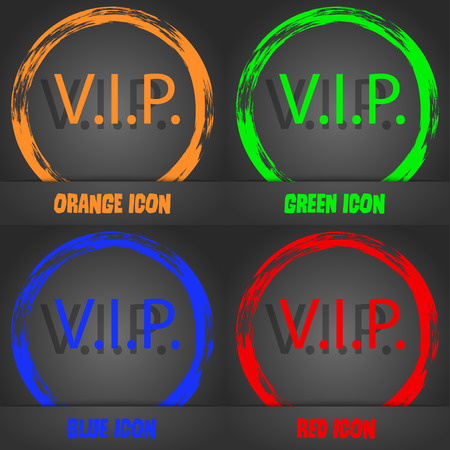 very important person: Vip sign icon. Membership symbol. Very important person. Fashionable modern style. In the orange, green, blue, red design. Vector illustration