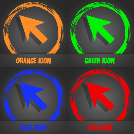 cursor arrow: Cursor, arrow icon sign. Fashionable modern style. In the orange, green, blue, red design. Vector illustration Illustration