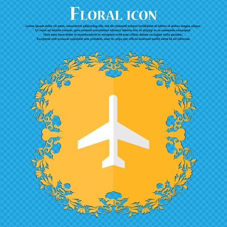 airplane. Floral flat design on a blue abstract background with place for your text. Vector illustration