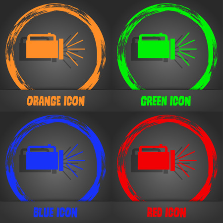 lite: flashlight icon sign. Fashionable modern style. In the orange, green, blue, red design. Vector illustration Illustration