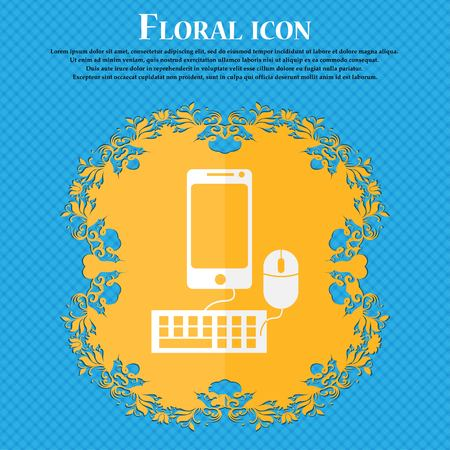 blue widescreen widescreen: smartphone widescreen monitor, keyboard, mouse sign icon. Floral flat design on a blue abstract background with place for your text. Vector illustration