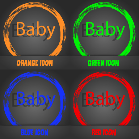 bebe a bordo: Baby on board sign icon. Infant in car caution symbol. Baby pacifier nipple. Fashionable modern style. In the orange, green, blue, red design. Vector illustration