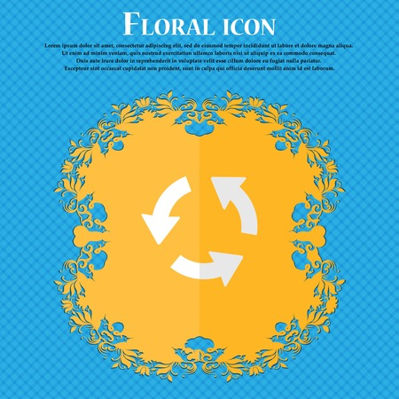 newest: Refresh. Floral flat design on a blue abstract background with place for your text. Vector illustration Illustration