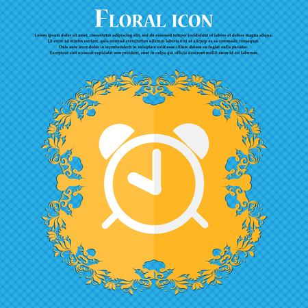 wake up call: Alarm clock sign icon. Wake up alarm symbol. Floral flat design on a blue abstract background with place for your text. Vector illustration Illustration