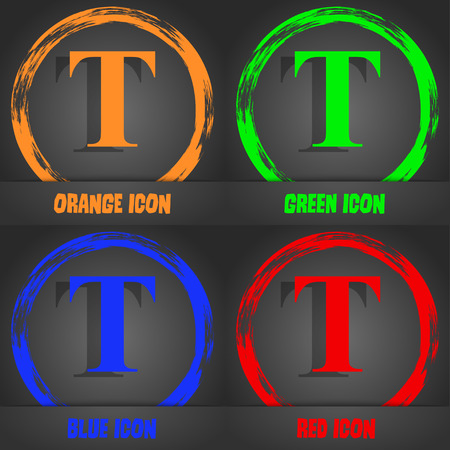 t document: Text edit icon sign. Fashionable modern style. In the orange, green, blue, red design. Vector illustration Illustration