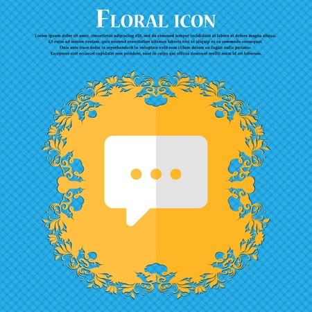 halfone: Cloud of thoughts. Floral flat design on a blue abstract background with place for your text. Vector illustration