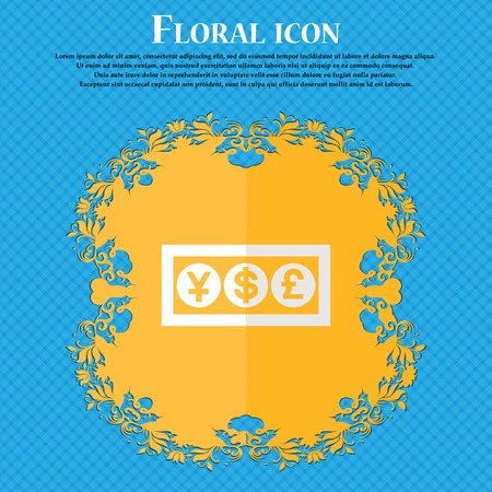currency converter: Cash currency. Floral flat design on a blue abstract background with place for your text. Vector illustration