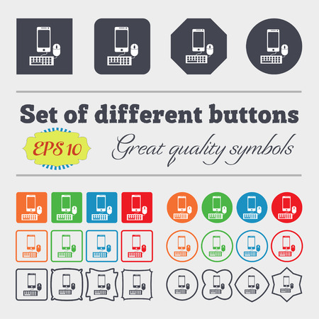 keyboard and mouse: smartphone widescreen monitor, keyboard, mouse sign icon. Big set of colorful, diverse, high-quality buttons. Vector illustration