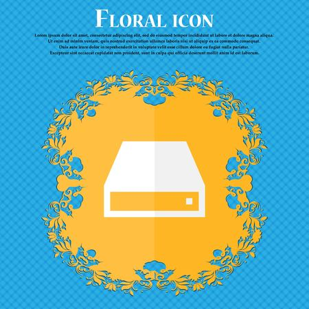 rom: CD-ROM . Floral flat design on a blue abstract background with place for your text. Vector illustration Illustration