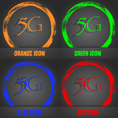 5g: 5G sign icon. Mobile telecommunications technology symbol. Fashionable modern style. In the orange, green, blue, red design. Vector illustration