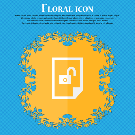 lockout: File locked icon sign. Floral flat design on a blue abstract background with place for your text. Vector illustration