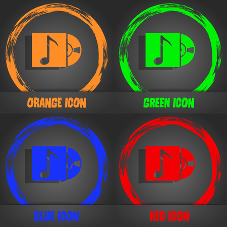 cd player: cd player icon sign. Fashionable modern style. In the orange, green, blue, red design. Vector illustration