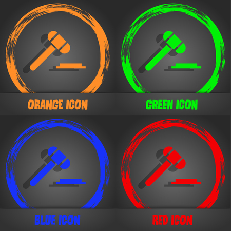 arbitrate: judge hammer icon. Fashionable modern style. In the orange, green, blue, red design. Vector illustration