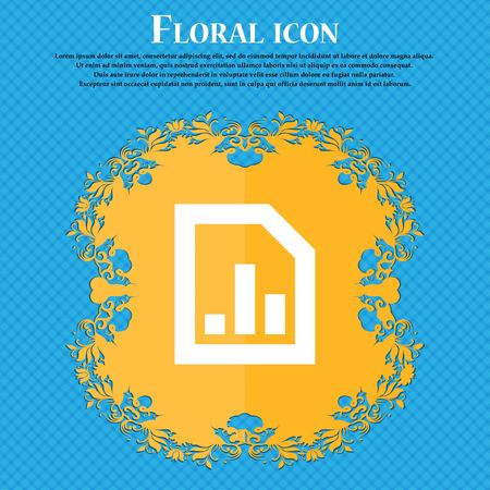 upturn: Growth and development concept. graph of Rate . Floral flat design on a blue abstract background with place for your text. Vector illustration
