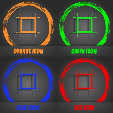 registration mark: Crops and Registration Marks icon sign. Fashionable modern style. In the orange, green, blue, red design. Vector illustration Illustration