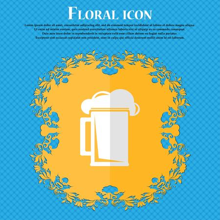 guinness: glass of beer. Floral flat design on a blue abstract background with place for your text. Vector illustration Illustration