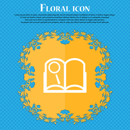 reading app: Book sign icon. Open book symbol. Floral flat design on a blue abstract background with place for your text. Vector illustration Illustration