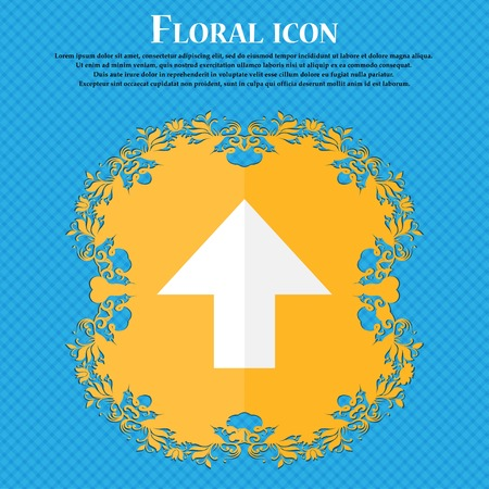 this side up: This side up sign icon. Fragile package symbol. Floral flat design on a blue abstract background with place for your text. Vector illustration