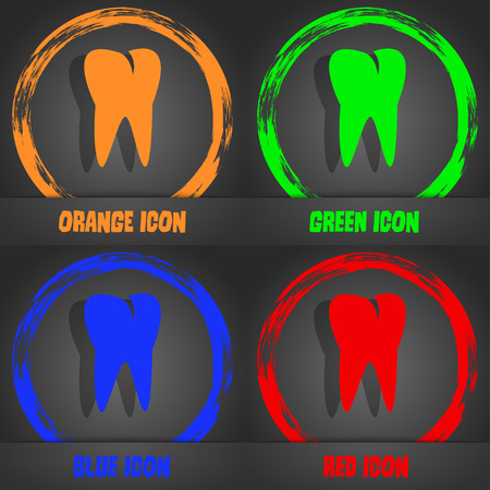 cavity braces: tooth icon. Fashionable modern style. In the orange, green, blue, red design. Vector illustration Illustration