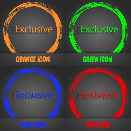 offer icon: Exclusive sign icon. Special offer symbol. Fashionable modern style. In the orange, green, blue, red design. Vector illustration