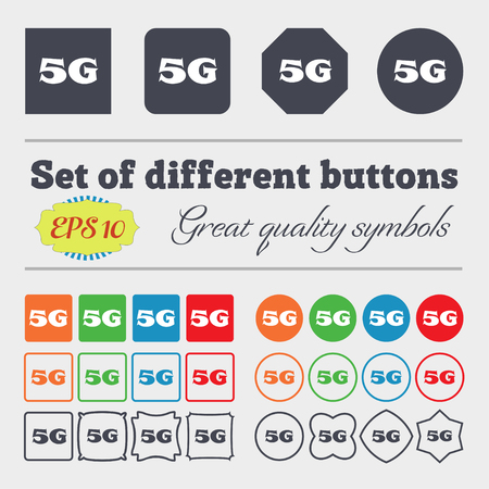 telecommunications technology: 5G sign icon. Mobile telecommunications technology symbol. Big set of colorful, diverse, high-quality buttons. Vector illustration Illustration
