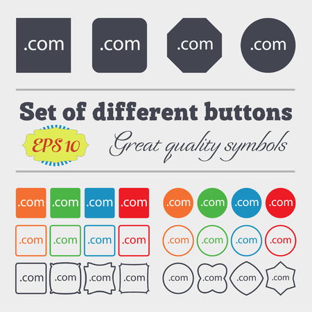 Domain COM sign icon. Top-level internet domain symbol. Big set of colorful, diverse, high-quality buttons. Vector illustration