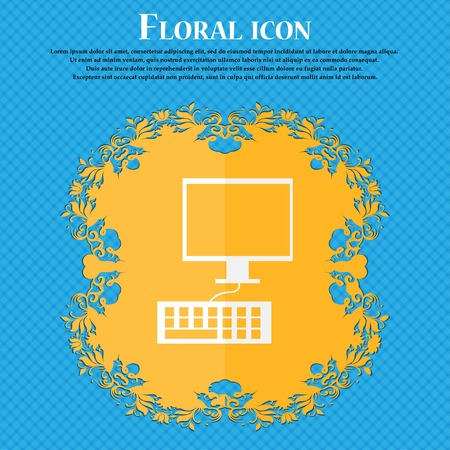 qwerty: Computer monitor and keyboard Icon. Floral flat design on a blue abstract background with place for your text. Vector illustration