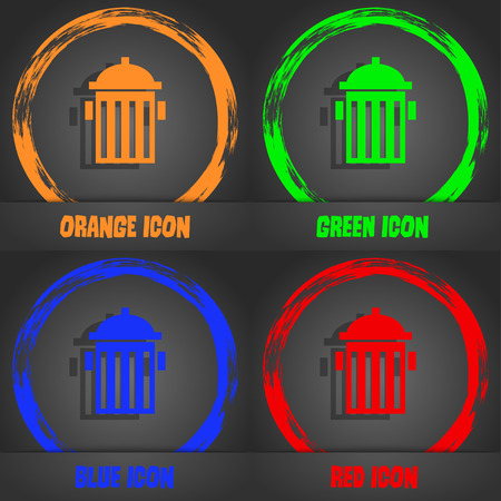hydrant plug: fire hydrant icon sign. Fashionable modern style. In the orange, green, blue, red design. Vector illustration