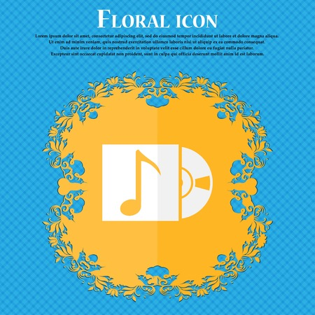 cd player: cd player icon sign. Floral flat design on a blue abstract background with place for your text. Vector illustration